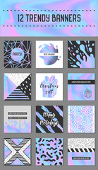 Abstract Creative Cards Posters Set with Holographic Elements. Trendy Hand Drawn Design for Banner, Placard, Invitation. Hipster Futuristic Brochure, Flyer, Leaflet. Vector illustration