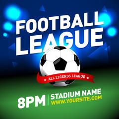 Soccer league flyer design. Football sports invitation template. Isolated vector illustration.