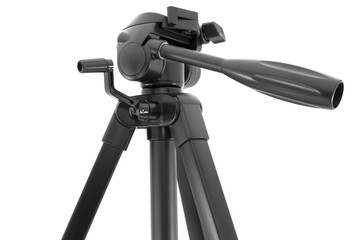 Put together black tripod isolated over white