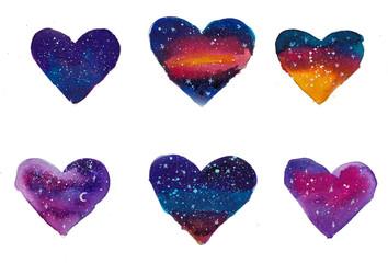 Heart space watercolor shape