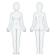 Female body front and back