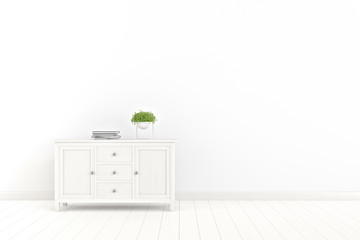 Clean living room interior with a wooden cupboard on white wall background. 3D rendering.
