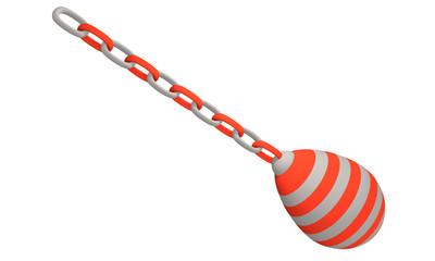 rot-weiß gestreiftes Deko-Ei, dass an einer Kette hängt.