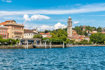 View of Pallanza, it is a village in the municipality of Verbania on the shore of Lake Maggiore, Italy