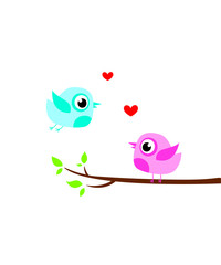 cute bird couple valentine greeting