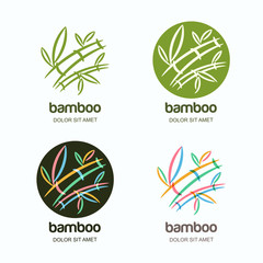 Vector set of logo icon or emblem with hand drawn multicolor creative bamboo plant. Concept for spa and beauty salon, asian massage, cosmetics package, furniture materials and other business.