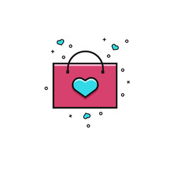 Shopping bag decorated with heart flat color line icon. Love shopping vector illustration. Template for Valentine's Day, Mother Day, Women Day sales.