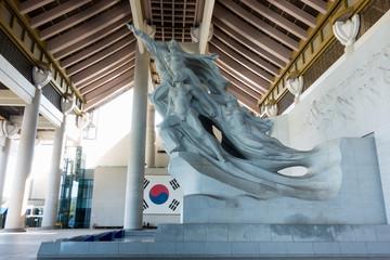 Chungcheongnam-do Cheonan, South Korea - The Statue of Indomitable Koreans in Independence Hall of Cheonan, South Korea.