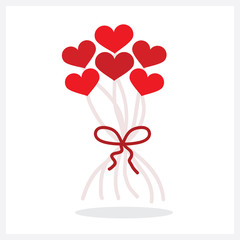 Abstract bunch of red heart shape helium balloons decoration with a bow icon on white background