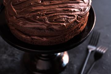 Chocolate Cake on a Cake Plate