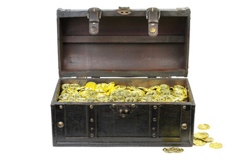 Treasure chest filled with gold coins isolated on white background.