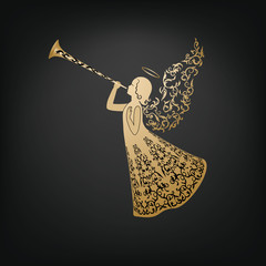 Beautiful angel with ornamental wings and trumpet