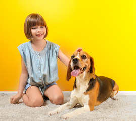 Cute girl with dog near color wall