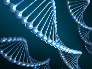 Abstract Blue DNA structure on gradient background. 3D graphic