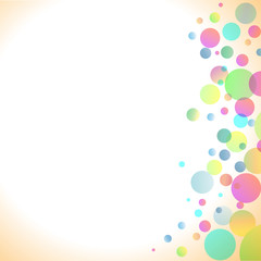 beige background with transparent colored bubbles