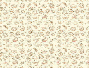 Custom vertical slats with your photo Seamless vector bakery & pastry pattern