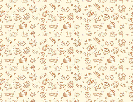 Seamless vector bakery & pastry pattern