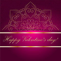 Valentines day card with sign on ornate