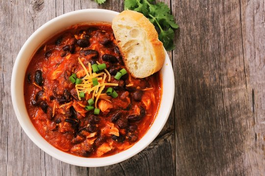 Homemade Turkey Chili with beans and scallions / Thanksgiving Leftovers