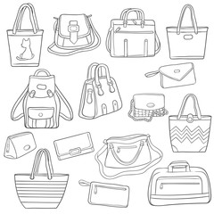 Set of black and white outline fashion bags collection
