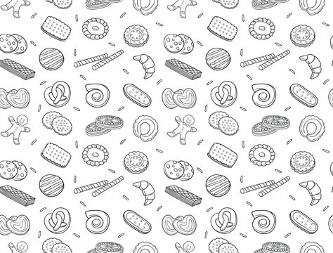 Seamless pattern of doodle cookies and biscuit