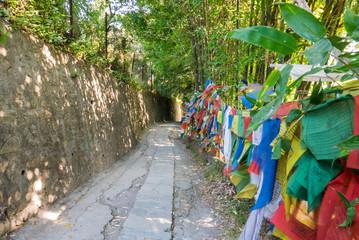 Wanderweg in Nepal mit Gebetsfahnen