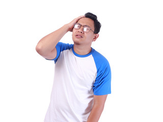 Funny Asian Man Crying Isolated On White