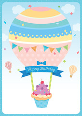Cute cupcake with Balloon design for Happy Birthday card on blue sky background.