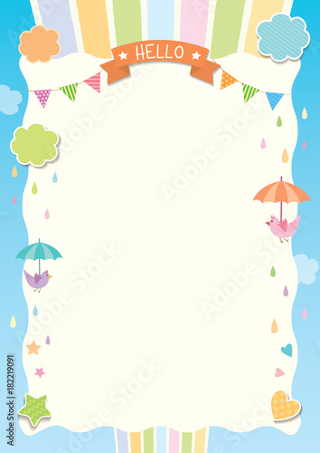 cute background template design with rainbow cloud and birds on