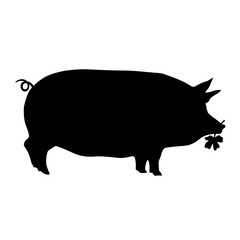 Schwein Silvester Kleeblatt Glücksbringer Klee Silhouette Vektor  Hausschwein Sau schwarz dick Umriss Kontur Zeichnung Bio