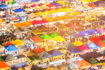 Multiple colour market top view night view, cityscape downtown background