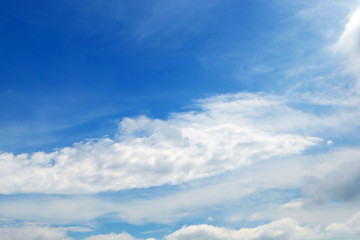 Beautiful Summer Blue Sky with White Clouds, Cloudscape Background Great for Any Use.