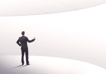 Salesman standing with his back concept
