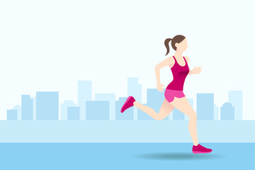Healthy woman run in the city