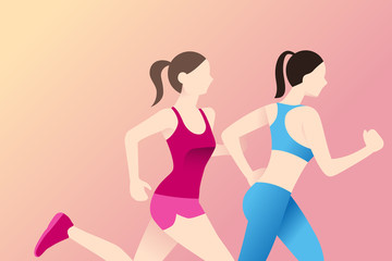 Healthy women in race running