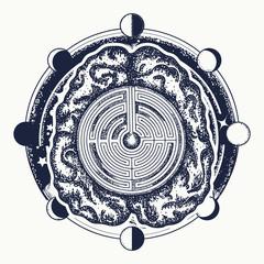 Super brain, labyrinth and moon phase tattoo art. Ingenious brain t-shirt design. Symbol of philosophy, artificial intelligence, psychology, creative thinking