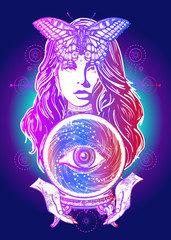 Fortune teller, crystal ball, mystic and magic. All seeing eye of future. Occult symbol of the fate predictions. Beautiful witch woman t-shirt design. Magic woman tattoo art