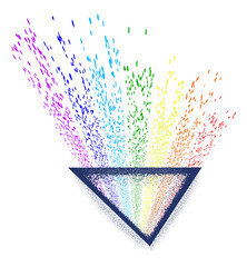 Light passing through a triangular prism tattoo. Dispersion. Triangle tattoo and t-shirt design. Triangular prism breaks white light ray into rainbow spectral colors