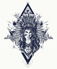 Native American woman tattoo art. Ethnic girl warrior. Young woman in costume of american indian. Tribal woman and mountains tattoo and t-shirt design