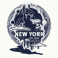 New York tattoo and t-shirt design. Big city New York city skyline cityscape art poster. Statue of Liberty tattoo