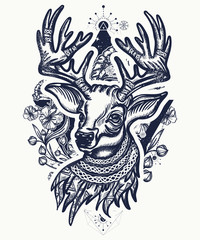 Christmas deer and art nouveau flowers tattoo and t-shirt design. Reindeer head. Symbol of winter, new year, Christmas. Beautiful reindeer portrait tattoo art