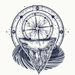 Compass and mountains tattoo and t-shirt design. Tattoo for travelers, climbers, hikers t-shirt design. Mountain antique compass and wind rose. Adventure, travel, outdoors, symbol