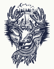 Deer and winter forest tattoo and t-shirt design. Christmas reindeer and compass. Symbol of winter, new year, Christmas. Beautiful reindeer portrait tattoo art