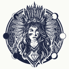 Tribal indian woman and mountains tattoo and t-shirt design. Native American woman tattoo art. Ethnic girl warrior. Young woman in costume of american indian vector ethnic art