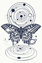 Butterfly and universe tattoo, geometrical style. Mystical symbol of freedom, nature, tourism. Realistic butterfly art tattoo for women. Beautiful Swallowtail boho t-shirt design