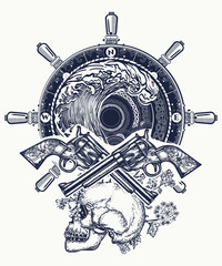 Old skull pirate steering wheel crossed revolvers t-shirt design. Pirate, crossed guns, skull, sea waves tattoo art. Symbol sea adventures