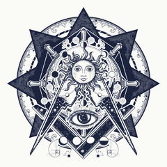 All seeing eye. Alchemy, medieval religion, occultism, spirituality and esoteric tattoo. Magic eye t-shirt design. Mysteries of knowledge of mankind. Masonic symbol tattoo and t-shirt design