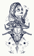 Mexican criminal tattoo and t-shirt design. Wild west woman, bull skull, revolvers, crossed arrows tattoo. Santa muerte girl. Sugar Skull. Santa Muerte mexican woman, old revolvers, crime scene