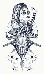 Mexican criminal tattoo and t-shirt design. Wild west woman, bull skull, revolvers, crossed arrows tattoo. Santa muerte girl. Sugar Skull. Santa Muerte mexican woman, old revolvers, crime scene