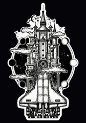 Space ship and magic castle tattoo art